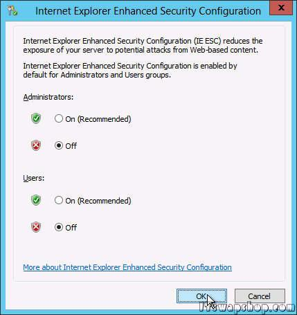 How to Disable or Remove Internet Explorer Enhanced Security Configuration in Windows Server 2012 3